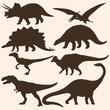 vector set of 8 dinosaurs silhouettes - 59321435