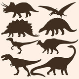 vector set of 8 dinosaurs silhouettes