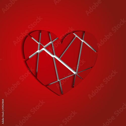 разбитое на осколки сердце на красном фоне