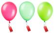 Leinwandbild Motiv Labels hanging on color balloon