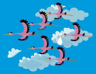team Stork delivering a newborn