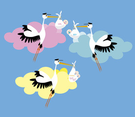 Stork delivering a newborn girl, boy ant twins