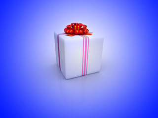 White gift isolated on white background