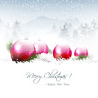 Christmas winter landscape with pink balls and copyspace