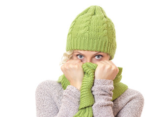 Funny  woman wearing warm sweater