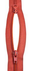 two sliders on plastic zip fastener close up
