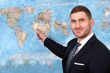 News anchor presenting the world weather report