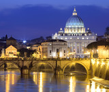 Tiber River, St. Angel Bridge and St. Peter's Basilica, Rome