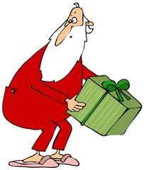 Santa picking up a gift box