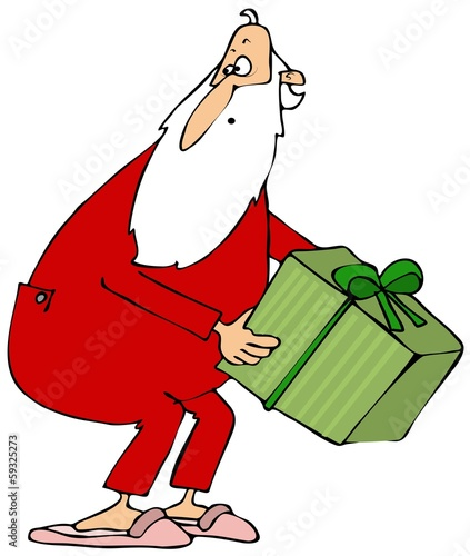 Santa picking up a gift box