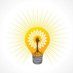 Helping hand make tree inside the bulb - vector illustration