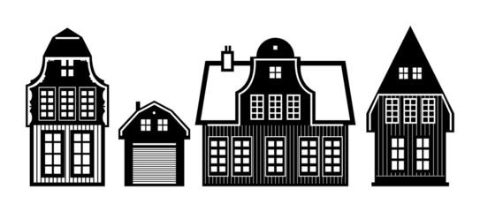Old Holland houses set, vector illustration