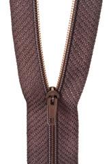 plastic brown coil zip fastener close up