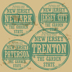 Grunge rubber stamp set with names of New Jersey cities