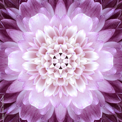 Aluminium Dahlia Pink Concentric Flower Center. Mandala Kaleidoscopic design