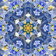 Blue Concentric Flower Center. Mandala Kaleidoscopic design