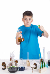 Young chemist, Education background: Funny Teen. Shot in studio