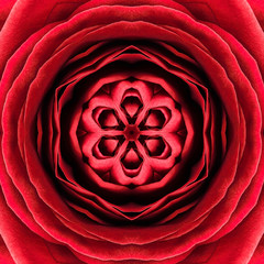 Red Concentric Flower Center. Mandala Kaleidoscopic design