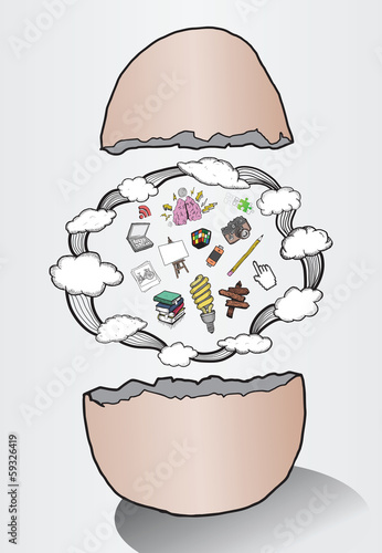 Egg hatching ideas illustration with clouds