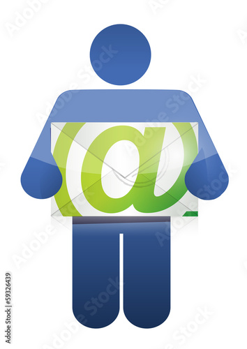 icon holding an email. illustration design