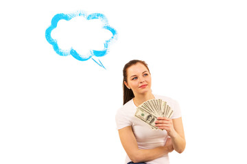 The woman with money dreams on white background