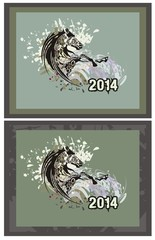 Horse swirl. Horse in a jump with splashes