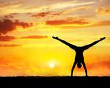 Yoga handstand silhouette