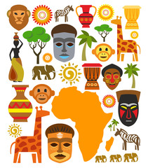 vector africa icon set