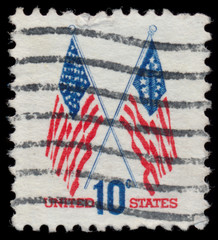 USA - CIRCA 1970: A stamp printed in USA shows The national flag