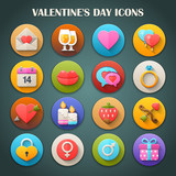Round Bright Icons with Long Shadow: Valentine's Day