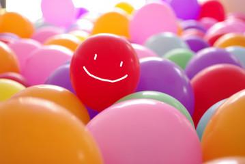 smile happy face coloful balloon illustartion
