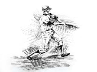 Baseball batter player hitting drawing