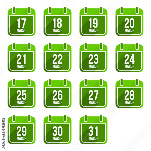 March vector flat calendar icons with long shadow. Calendar Days