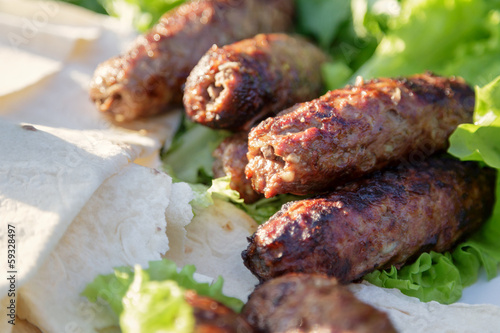 shish kabab lamb meat on skewers