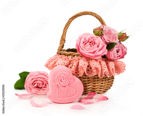 Basket with roses and gift box