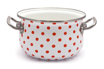 White Saucepan with Red Dots isolated on white