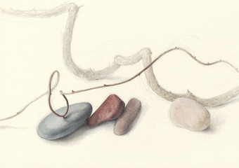 Hand-painted Stones and Vines