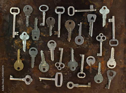 Poster Chicago Old keys on a rusty metal background