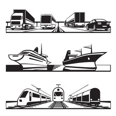 Global transportation set - vector illustration