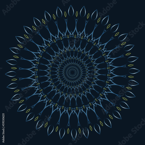 Mandala - circular ornament with heart pattern - blue
