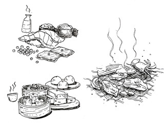 food hand drawn, sushi, sake, baebecue, dim sum