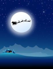 Santa flying with Sledge-vector