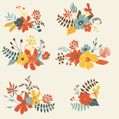 Set of six graphic floral design