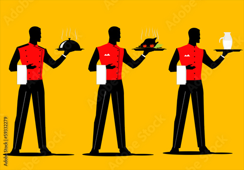 A set of waiter holding a tray with various uniform