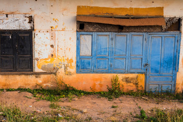 wooden door and windows, colonial old building style at  Vientia