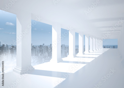 Naklejka Bright white hall with columns