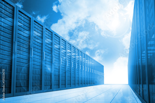 Server hallway in the blue sky