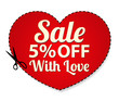 Sale Coupon, label (banner, tag) red template. Heart shape frame
