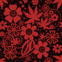 Red seamless lace pattern