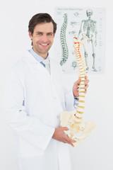 Smiling male doctor holding skeleton model in office